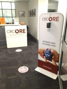 CRC ORE Automatic Hand Sanitiser and Social Distancing Stickers